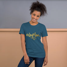 Load image into Gallery viewer, Heather Deep Teal t-shirt that says Dog Mom on it in gold script