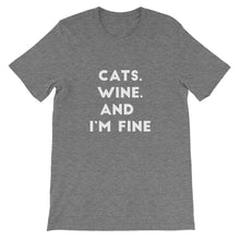 Load image into Gallery viewer, Cats Wine Fine Short-Sleeve Unisex T-Shirt - Kai's Ruff Wear