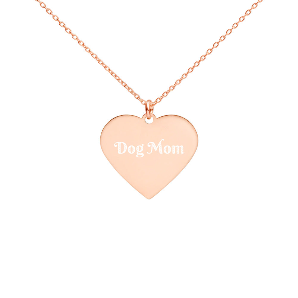 Dog Mom Engraved Heart Necklace