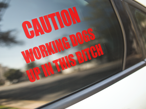 CAUTION Working Dogs Car Decal