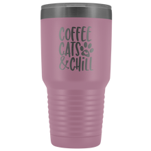Load image into Gallery viewer, Coffee, Cats, and Chill Tumbler Cup