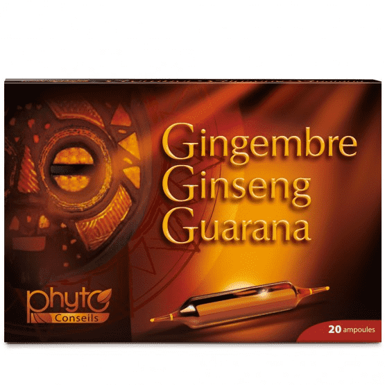 Ginseng Gingembre Guarana - 20 ampoules - Yves Ponroy
