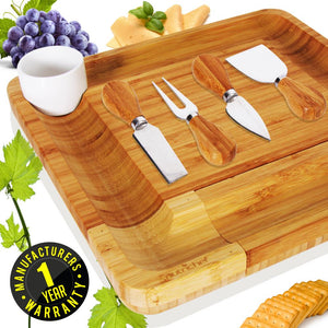 Bamboo Cheese Board & Cutlery Set PKCZBD10