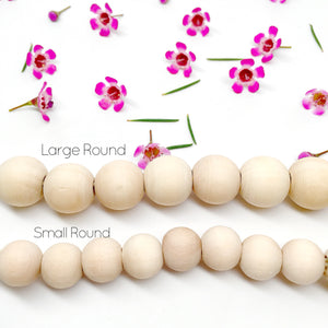 Large Round Natural Wood Bead Pacifier Clip - Late Night Luna