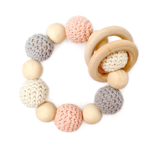 Coral Blossom Crochet Wood Bead Teething Toy - Late Night Luna Our Organic Wood Bead Teething Toys are made from 100% natural material including untreated and chemical free wood beads, cotton yarn and waxed cotton cord. Completely natural and eco-friendly, each toy is double strung on strong cotton cord to ensure safety and durability.