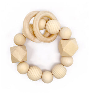 Beautiful wood bead teether Honeycomb Wood Bead Teething Toy - Late Night Luna
