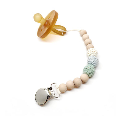 Jade Crochet Wood Bead Pacifier Clip - Late Night Luna