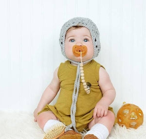 Small Round Natural Wood Bead Pacifier Clip - Late Night Luna