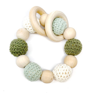 Sage is a Late Night Luna Organic  Wood Teething Toy! These are great Montessori inspired toys, make excellent baby rattles / infant rattles, and are perfect for nursing babies! These little teething rings are safe and chemical free!