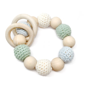 Jade Crochet Wood Bead Teething Toy - Late Night Luna