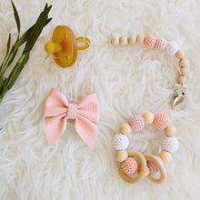 Blush Gift Set - unique baby shower gift pink ombré teether wood beaded pacifier clip leather sailor bow Late Night Luna