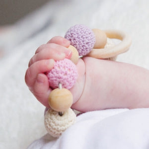 Chloé Crochet Wood Bead Teething Toy teething ring baby holding beaded teether - Late Night Luna