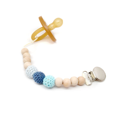 Sea Side Crochet Wood Bead Pacifier Clip