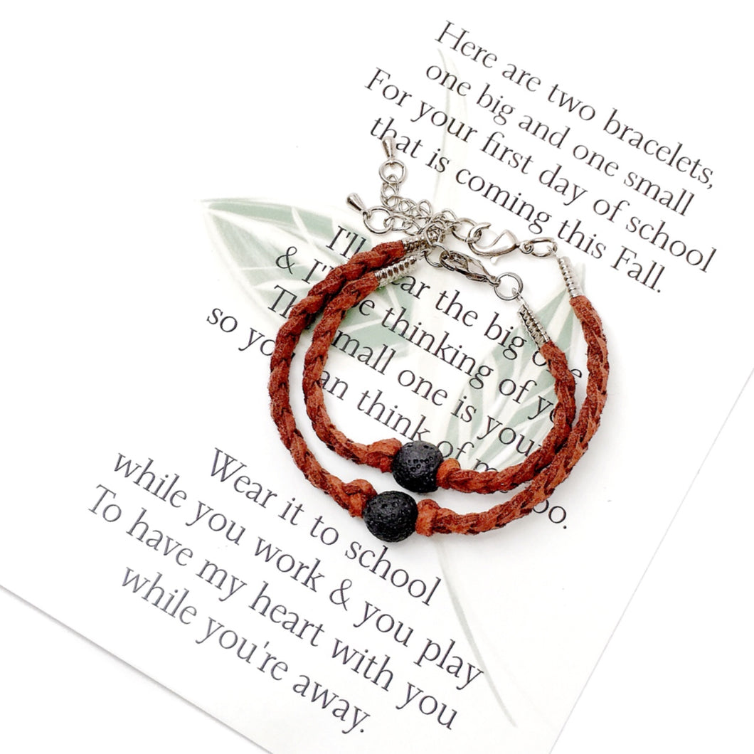 The first day of school can be nerve wracking for everyone, kids and parents. These little comfort bracelets bring piece of mind for parents and kids because they head off to school knowing they have a little piece of each other while apart.   This first day of school set comes with one small and one adult adjustable bracelet as well as a beautifully written poem to read to your child before they head off to school.