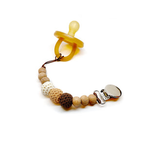 Beech Wood Bead Pacifier Clip made by Late Night Luna. These vintage / boho style dummy / soothie clips make beautiful gifts for new moms and new babies alike! These beaded clips are certified safe