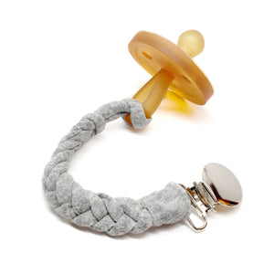 Grey Cotton Braided Pacifier Clip - Late Night Luna