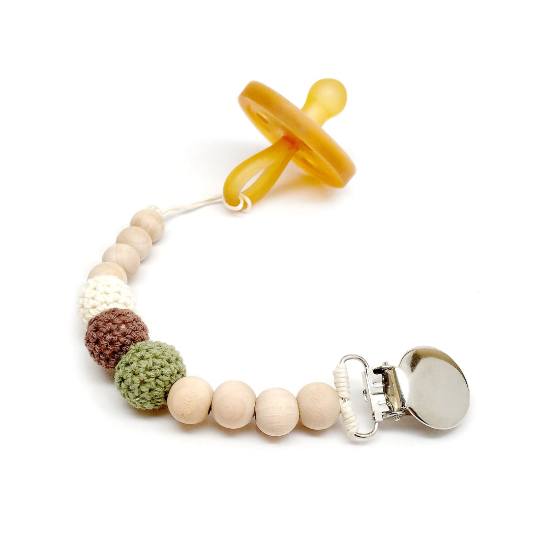 Camo baby green brown cream Hunter Crochet Wood Bead Pacifier Clip - Late Night Luna