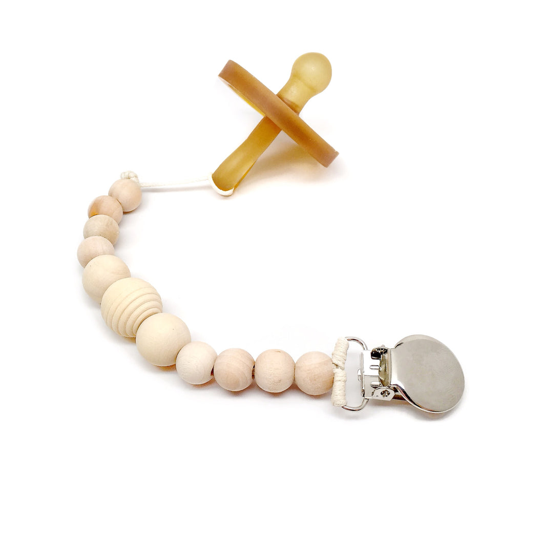 All wood bead stylish modern binky clip Honeycomb Wood Bead Pacifier Clip - Late Night Luna