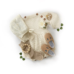 Baby clothes flatlay with wood teether ring Honeycomb Wood Bead Teething Toy - Late Night Luna