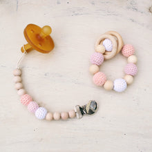 Blush is made from 100% natural material including untreated  maple wood beads, cotton yarn and waxed cotton cord. The matching Crochet Wood Bead Pacifier Clip is universal in that it will secure nicely to any pacifier or teething ring and clips onto baby's clothes keeping items from getting dropped or lost! Each set comes in a beautiful gift box and ready to give! Made and sold by Latenightluna.com