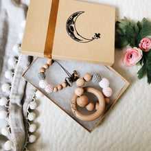 Celeste Organic Wood Bead Pacifier Clip & Matching Teething Toy Gift Set by Late Night Luna. Each Gift Set comes boxed and ready to give!