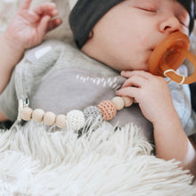 Tawny Crochet Wood Bead Pacifier Clip - Late Night Luna