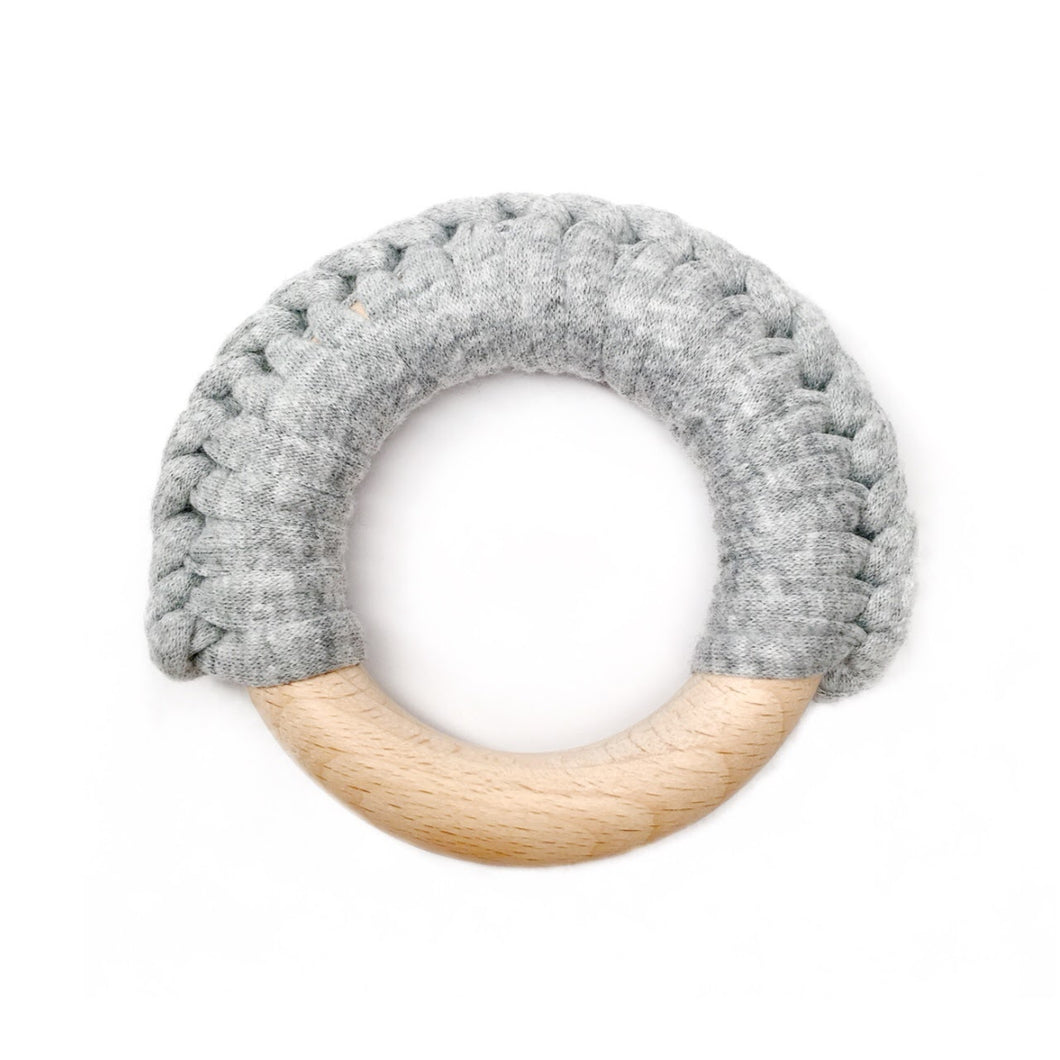 Grey Wood Teething Ring - Late Night Luna