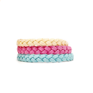 Adult Leather Bracelets braided yellow pink blue adjustable - Late Night Luna