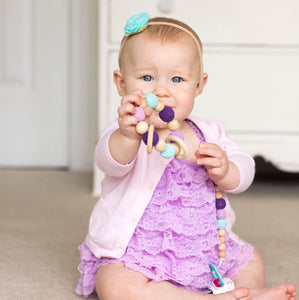 Mermaid Crochet Wood Bead Teething Toy - Late Night Luna