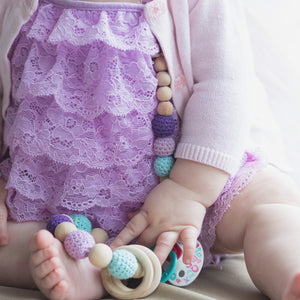 Mermaid Crochet Wood Bead Pacifier Clip - Late Night Luna