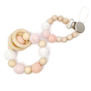 Blush pink ombré baby shower gift organic wood bead beaded pacifier clip matching teething toy teether