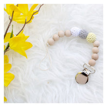 With grey yellow baby gender neutral binky clip Dandelion Crochet Wood Bead Pacifier Clip - Late Night Luna