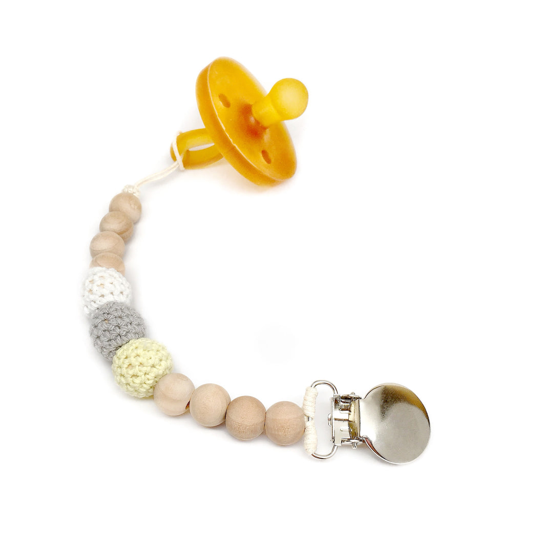 Dandelion Crochet Wood Bead Pacifier Clip Yellow grey white gender neutral baby binky clip - Late Night Luna