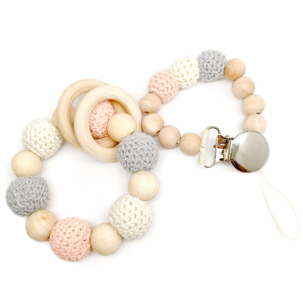 Coral Blossom Gift Set - Coral Blossom is a beautiful gift to give to any new baby or expecting mother! All of our gift sets come beautifully boxed and ready to give!   Our Organic Wood Bead Teething Toys are made from 100% natural material including untreated and chemical free wood beads, cotton yarn and waxed cotton cord. Completely natural and eco-friendly, each toy is double strung on strong cotton cord to ensure safety and durability.   Made and sold by LateNightLuna.com