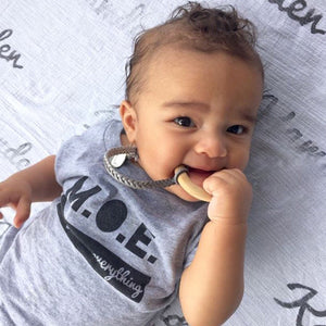 Leather Suede Pacifier Clips - Late Night Luna