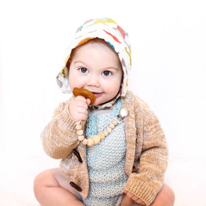 Baby boy classics vintage style with brown pacifier and beaded binky clip Honeycomb Wood Bead Pacifier Clip - Late Night Luna