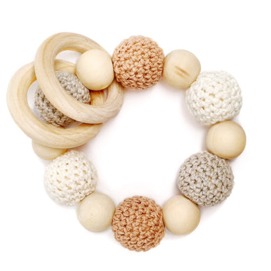 Tawny Crochet Wood Bead Teething Toy