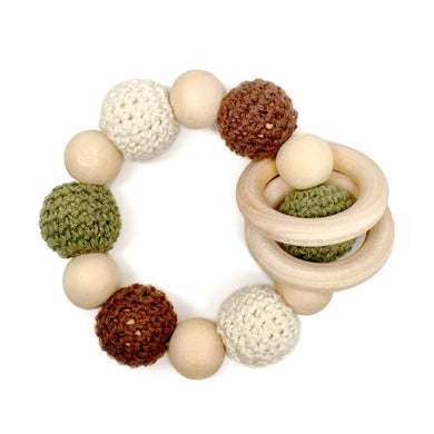 Camouflage color baby gift Hunter Crochet Wood Bead Teething Toy - Late Night Luna
