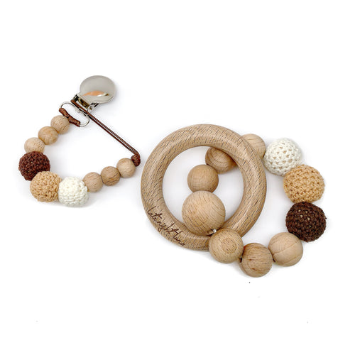 Brown Sugar is part of our beech wood bead collection and is made of beautiful neutral color crochet wood beads double strung on strong brown waxed cotton cord.