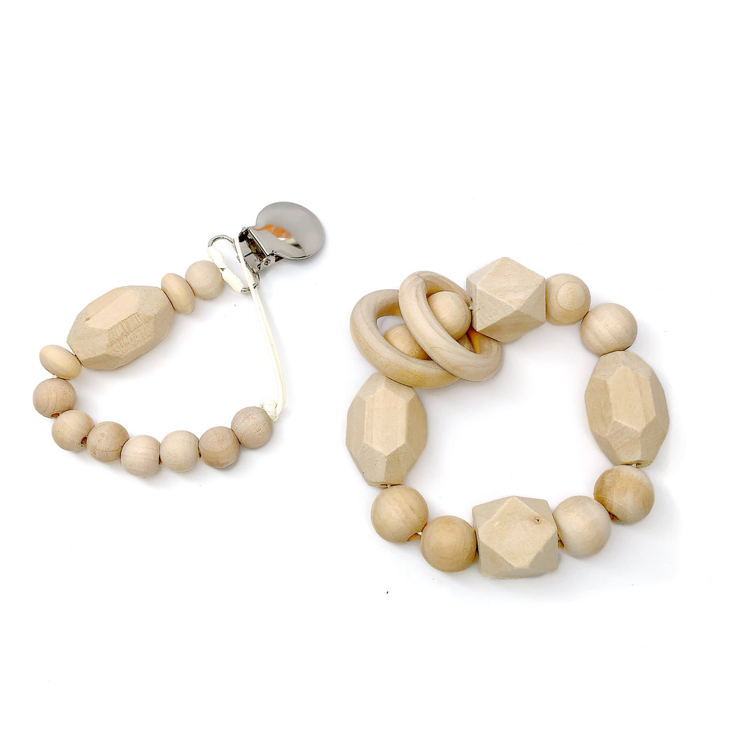Rowan Organic Pacifier Clip & Wood Teething toy Gift Set by Late Night Luna. Each Gift Set comes boxed and ready to give! So whether it is for your baby, a dear friend's baby shower or you are looking for the perfect first holiday gift for a little in your life, this wonder set is sure to be best in show.