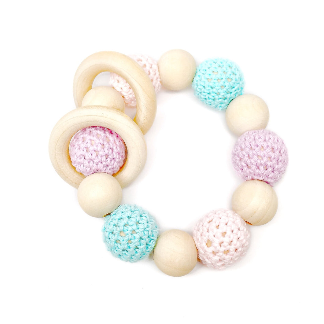 Unicorn Crohet Wood Bead Teething Toy - Late Night Luna