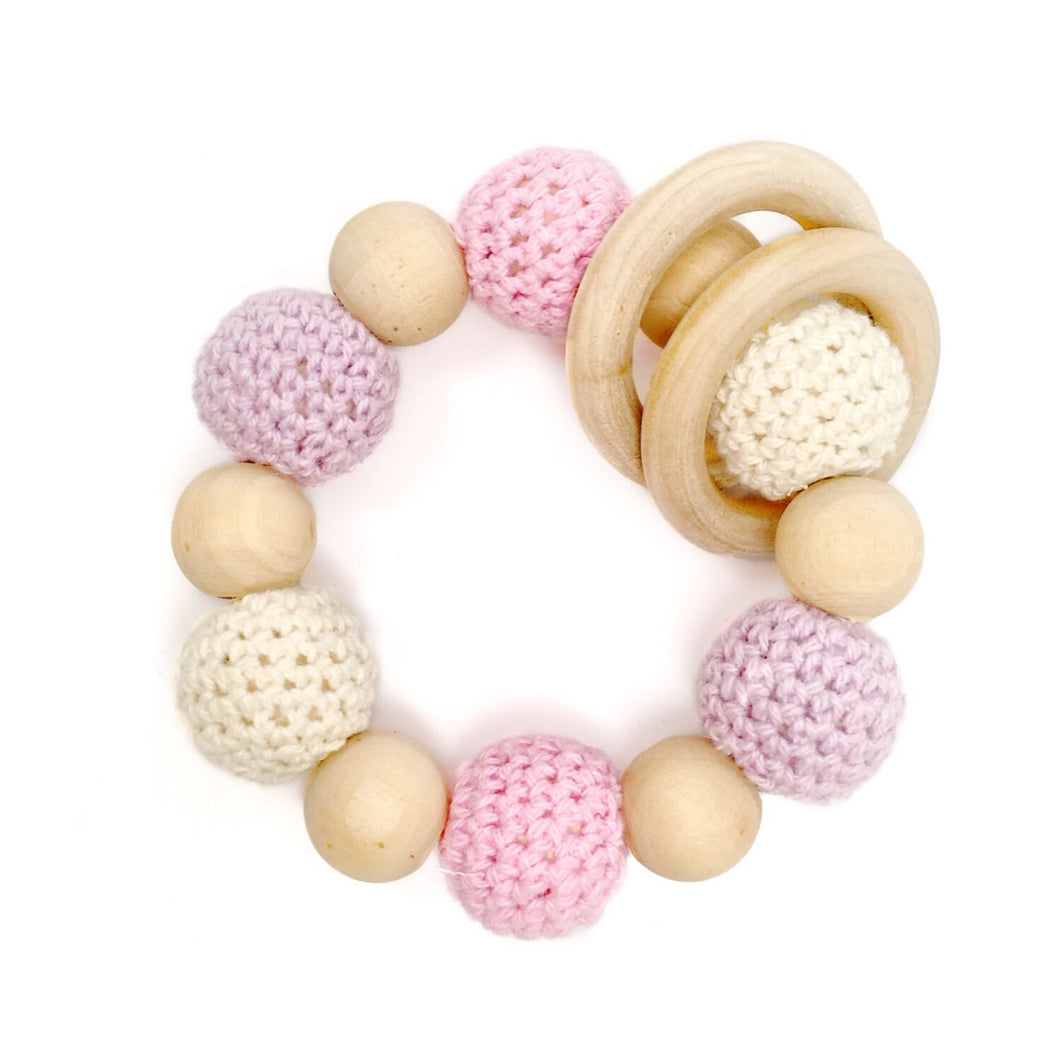 Chloé Crochet Wood Bead Teething Toy - beaded teether purple pink white teething baby gift Late Night Luna
