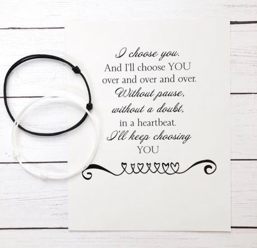 Couple Black & White Cord Bracelets with Card