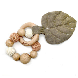 Tan Aspen Leaf Teething Toy