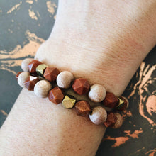Gold Stone and Bronze Rose Wood Essential Oil Diffuser Bracelet