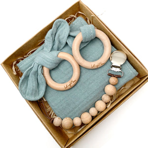 Jade 100% cotton Baby Lovey Gift Set with Teething Toy & Wood Rattle or Pacifier Clip