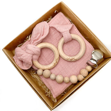 Cotton Lovey Pacifier clip Gift Set