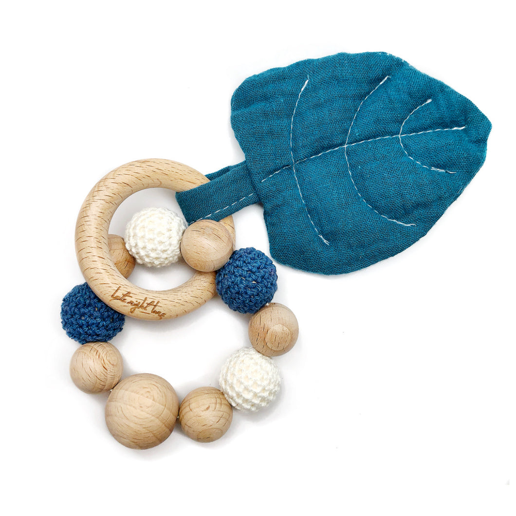 Blue Aspen Leaf Teething Toy