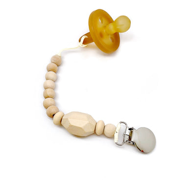 Rowan Organic Wood Bead Pacifier Clip Made using organic wood beads of different shapes and sizes! Our Organic Wood Bead Pacifier Clips are made from natural material including organic beads, waxed cotton cord and a LEAD FREE metal clip! Double strung meaning there is not one but TWO strong waxed cotton cords holding those beads in place! This clip is CPSC certified safe!