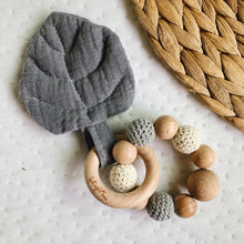 Grey Aspen Leaf Teething Toy